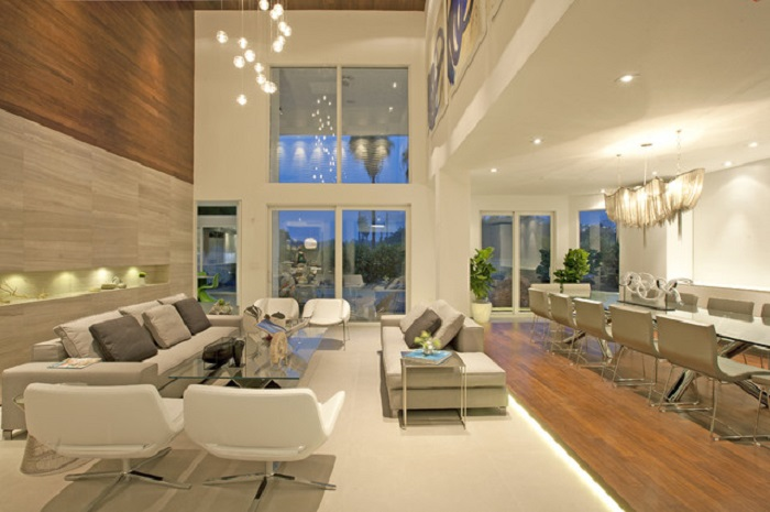 for the miami aesthetic the monochromatic creamy and sandy color scheme used all over the room brings about brightness besides creating an illusion of